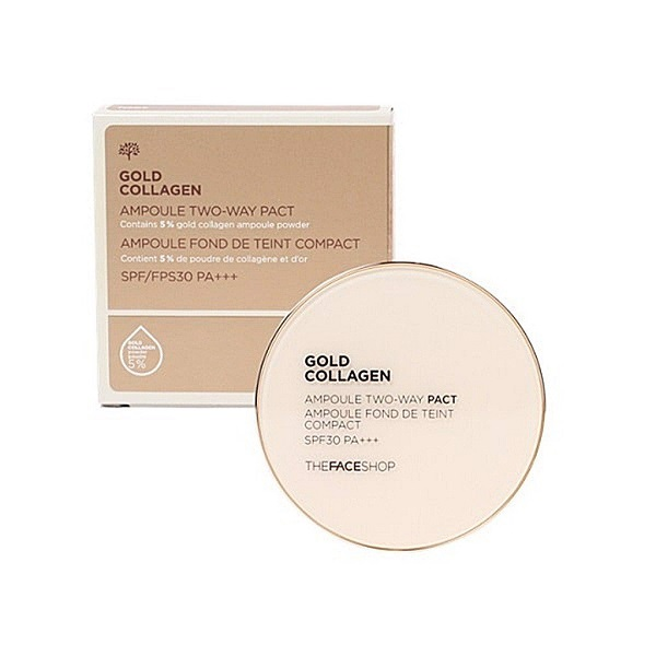 Phấn Phủ Gold Collagen Ampoule Two-way Pact SPF30++ V203 TheFaceShop