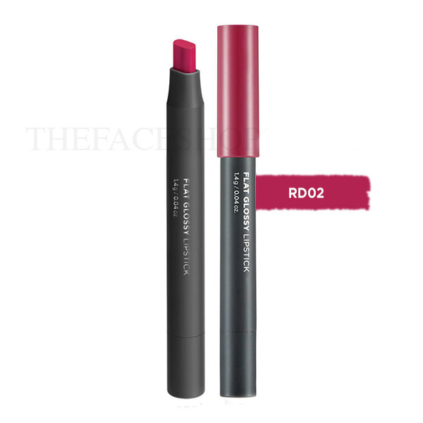 Son đa năng Flat Glossy Lipstick RD02 Berry-up Red The Face Shop