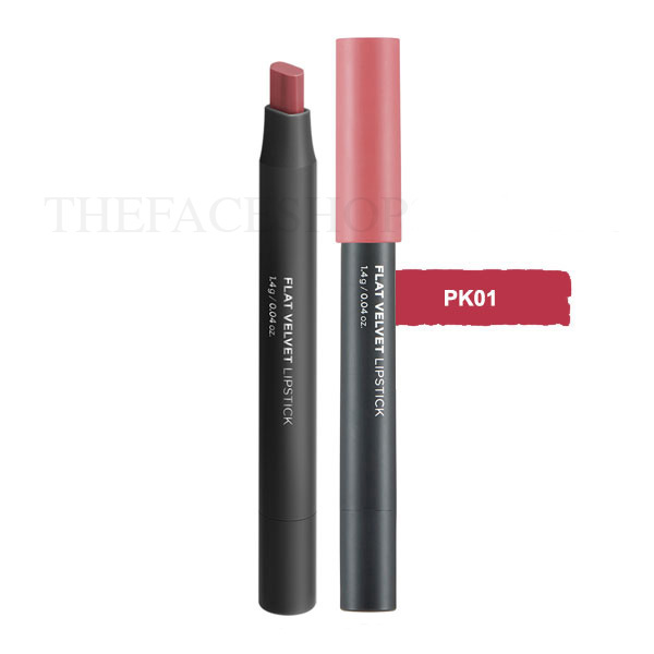 Son lì đa năng Flat Velvet Lipstick PK01 Rosemary Pink The Face Shop
