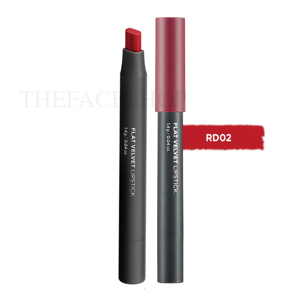 Son lì đa năng Flat Velvet Lipstick RD02 Dazzling Red The Face Shop