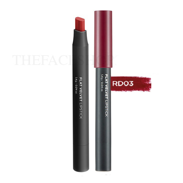 Son lì đa năng Flat Velvet Lipstick RD03 Cassis Red The Face Shop